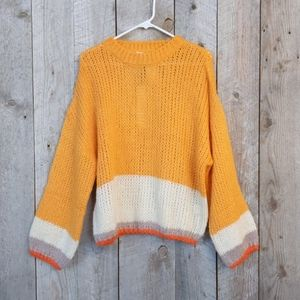 Mustard Seed stripe bell sleeve blocked sweater M